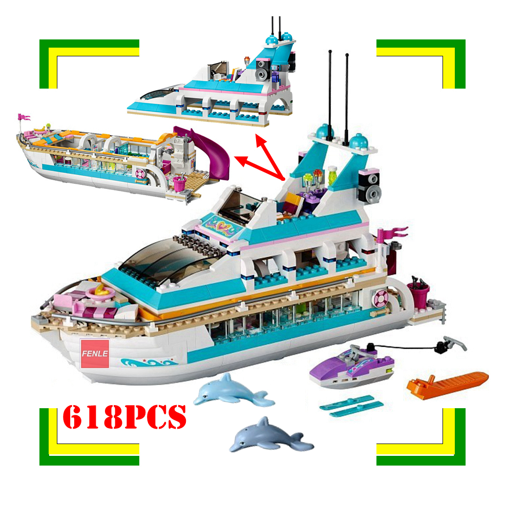 New  Friends Girls Dolphin Cruiser Large Yacht Club Cruise Ship Building Blocks Brick Christmas Toys For Children