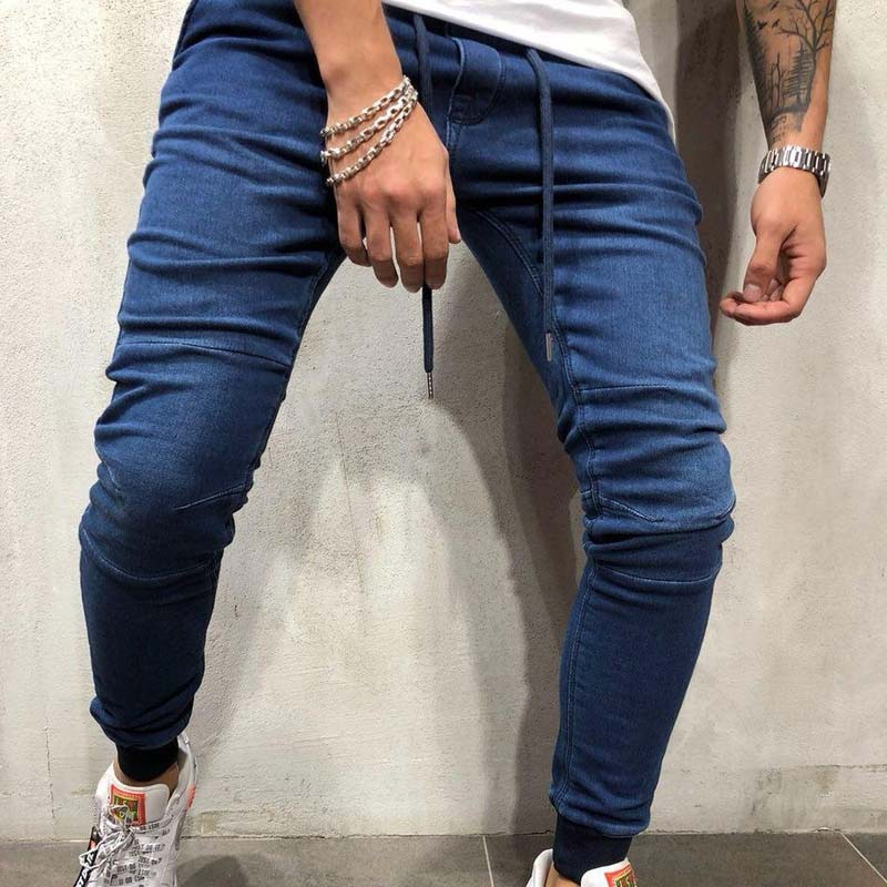 Men Solid Skinny Jeans Pants Fashion Streetwear Jeans Hip Hop Slim Fit Denim Pants Male Stretchy distressed Jeans Plus Size 3XL