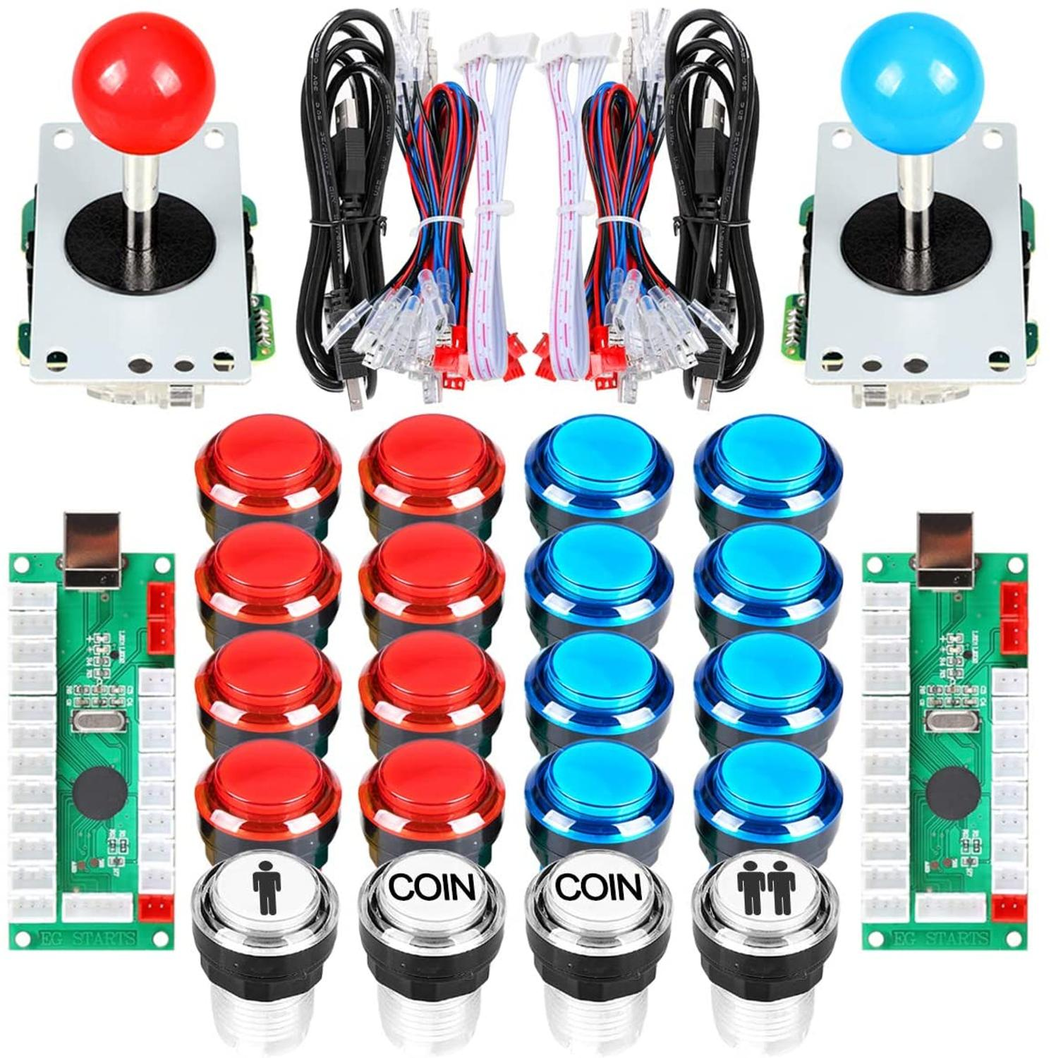 Arcade DIY Kit Part 2x 8 Way Joystick + 16x LED Illuminated Push Buttons + 2 Player + Coin for Raspberry Pi 3B Model Project DIY