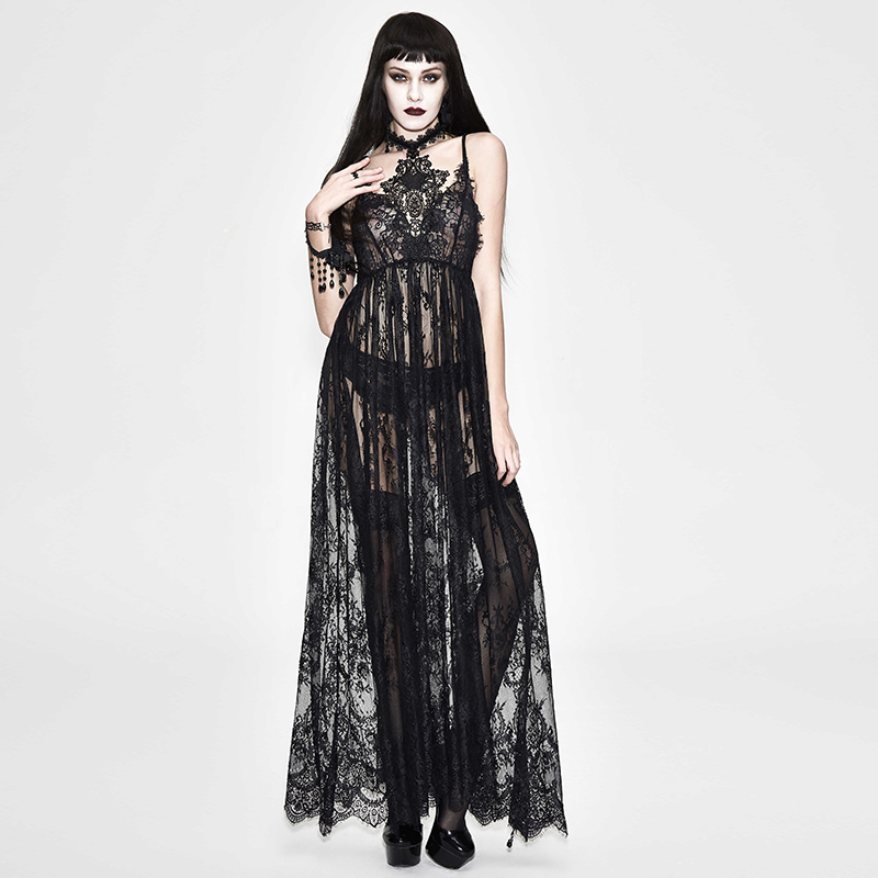 Women's Sexy Long Gown Dress Party Spaghetti Strap Long Dresses See-Through Lace Backless Nightwear