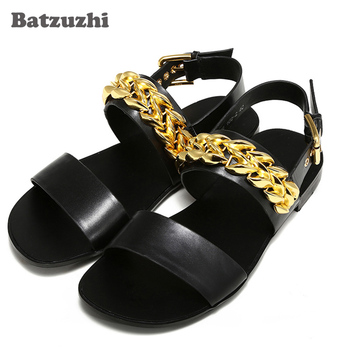 Sandalias Mujer 2020 New Summer Sandal Shoes Black Soft Genuine Leather Shoes Sandals Beach/Party/Runway Gladiator, Big Sizes 46