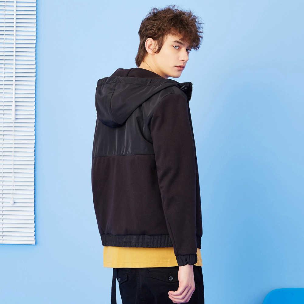 Metersbonwe 남자 캐주얼 지퍼 후드 패션 조수 새로운 봄 가을 재킷 스웨터 남성 틴 에이저 코트 스포츠웨어