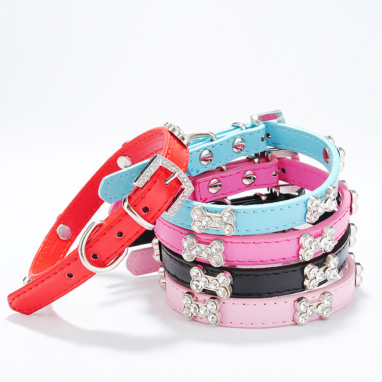 Jin Ling Jie PU Pet Collar Six Drilling Bone Neck Ring Exquisite Man-made Diamond Dog Traction Rope Large Amount