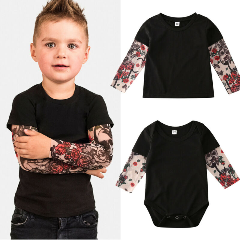Toddler Newborn Infant Baby Girl Boys Shirt Clothes Set Romper Jumpsuit Rose Tattoo Sleeve T-shirt Match Clothes Outfit Set