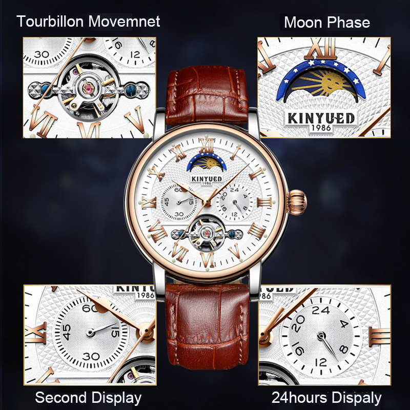 KINYUED Moon Phase Tourbillon Mens Skeleton Watch Men Chronograph Automatic Mechanical Watches Luxury Brand Relogio Masculino
