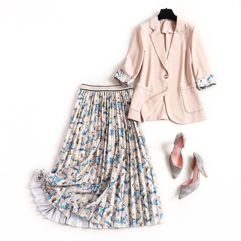 Blazer Sets Midi Pleated Skirts Women 2 Set Piece Skirt And Suit Fashion Office Ladies Formal Uniform Suits Jacket Set Design Za