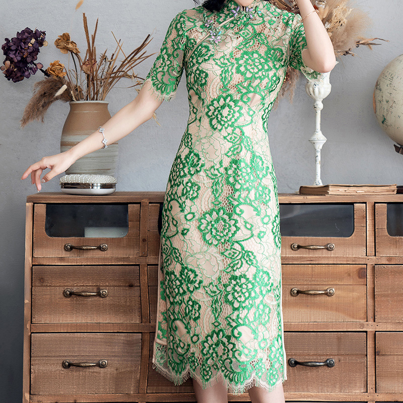 Push Yes Discount Lady Of Quality Temperament Self-cultivation Lace Jacquard Weave Cheongsam chinese traditional dress for men