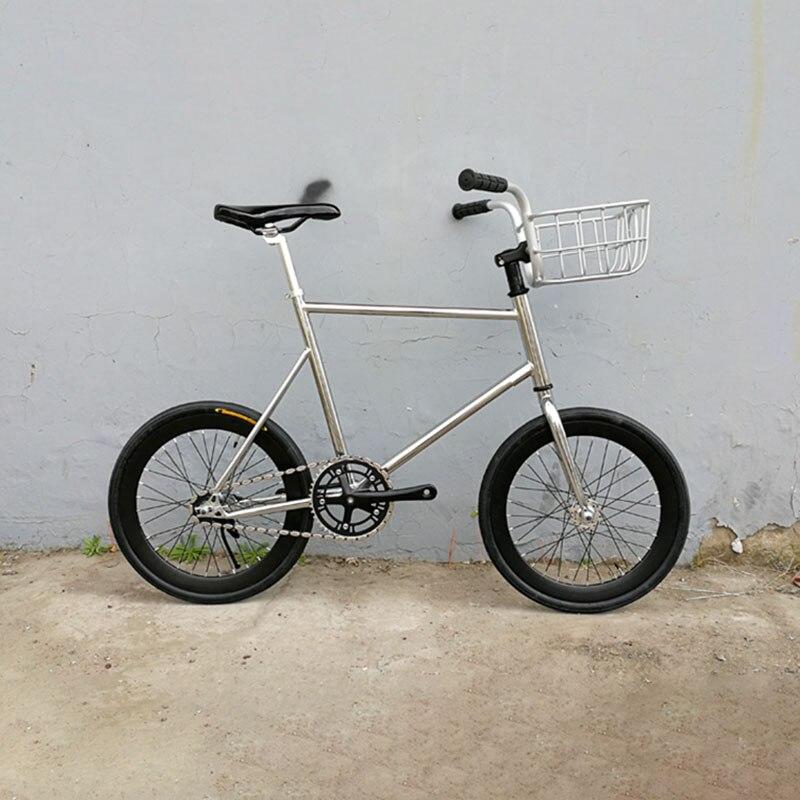 20 дюймовая велосипедная дорожка с фиксированной передачей, односкоростная велосипедная фиксация, винтажная Серебристая велосипедная Рама...