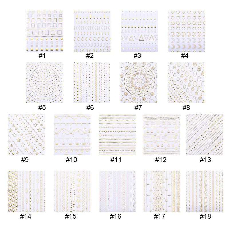 New Style Nail Sticker Suspender Strap Glue 3D Gold-Tone Metal Sticker Nail Decals DIY Three-dimensional Stickers Fingernail Dec