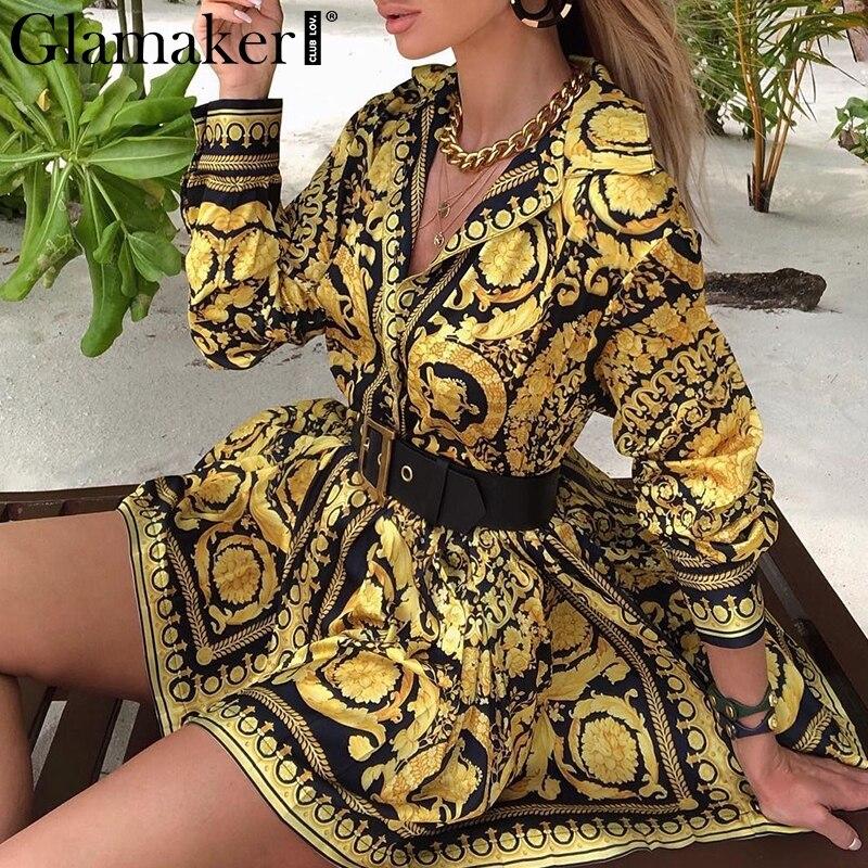 Glamaker Sexy Paisley Vintage Print Gold Dress Women V Neck Short Shirt Dress Summer Elegant Party Club Dress Large Size Robe