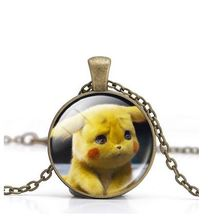 CRAZY FLY POKEMON Detective Pikachu Necklace Alloy Cabochon Glass Pendant Jewelry For Women