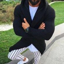 Свитер с капюшоном, пальто, Мужской Повседневный тонкий свитер с карманами, трикотажный кардиган, мужской, осенние толстовки с капюшоном, трикотажная верхняя одежда, Hombre