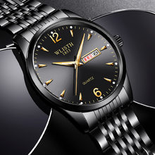 Relogio Masculino Mens Watches Men Tops Brand Luxury Double Calendar Luminous Leather Quartz Watch Steel Waterproof Sport Clock(China)