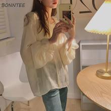 Camisas De Moda para Mujer, camisas De Color puro, estilo coreano, suelto y cómodo, combina con todo, De manga larga, con volantes, Hipster, informal