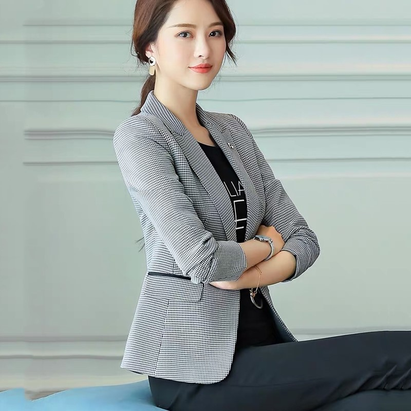 Suit Jacket Spring Plaid Retro Autumn Korean Casual Fashion Ladies Small New And Temperament