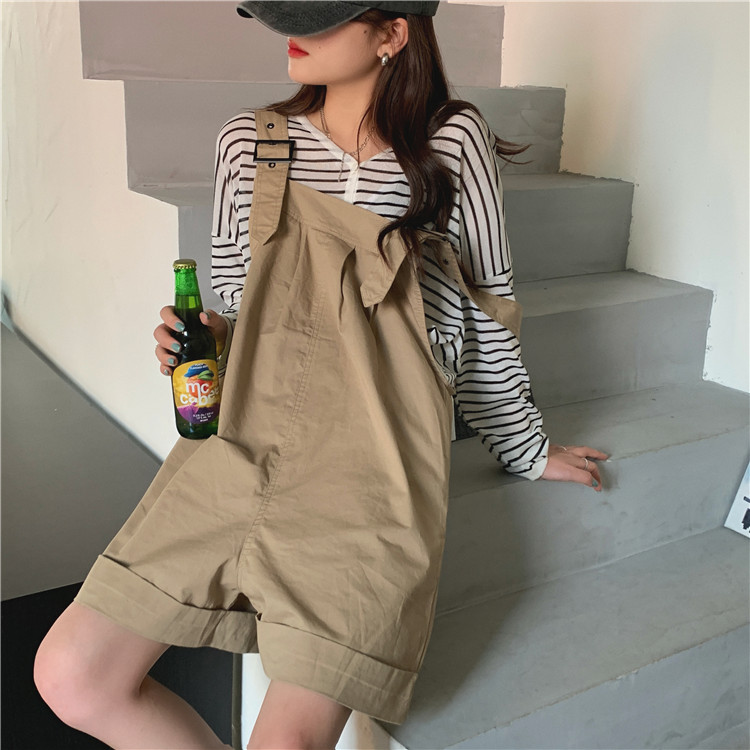 H0d81d0d5557c44d0a50a3dd6585f0e7d5 - Summer Loose Fitting Wide Leg Solid Overall Shorts