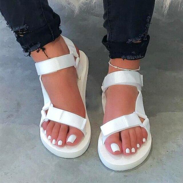 Summer Soft Slip Sandals 2020 Women Buckle Strap Foam Sole Durable Sandals Ladies Outdoor Casual Beach Shoes Woman Plus Size 45 3