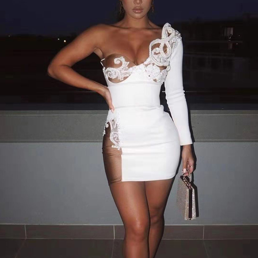 Missord 2019 Women Sexy Bra Off Shoulder One  Sleeve Dress Mesh Patchwork  Mini Dress   FT19844