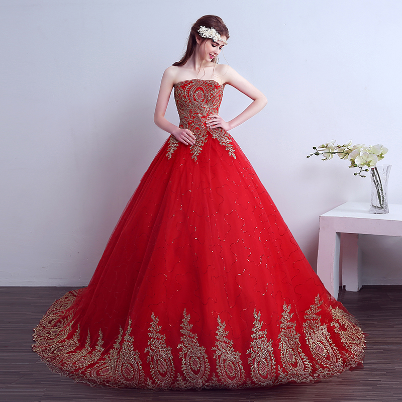 Red Lace Prom Dresses 2019 Ball Gown Appliques  Lace Up Strapless Evening Party Gowns For 15 Years Debutante Vestidos De 15 Anos