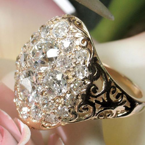 Luxury White Zircon Gold Color Rings Female Round Rhinestone Inlay Ring For Bridal Engagement Jewelry