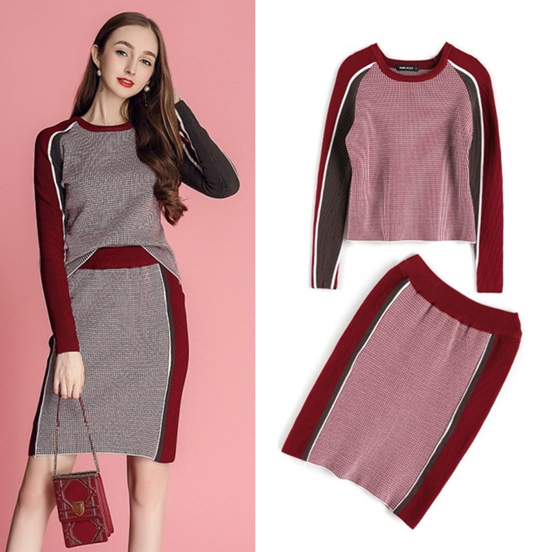 Nice Winter Autumn Women's Fashion Twinset Set Spliced Plaid Sweaters Knitted Tops And Slim Knit Good Quality Skirt Suits NS641