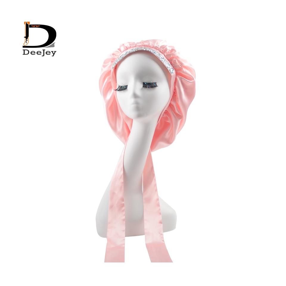 Custom Satin Hair Rhinestone Bonnet double layer with diamond long wrap head band edge control headband