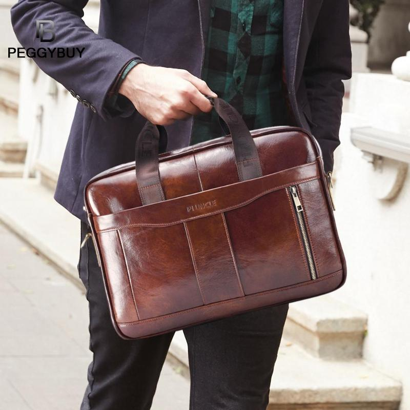 Business-Briefcases Office-Handbag Lawyer Genuine-Leather Messenger-Bag Shoulder-Crossbody-Bag