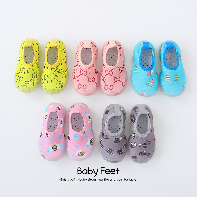 Baby Walking Shoes First Walkers Smile Print Shoes Breathable Infant Toddler Shoes  Soft Bottom Comfortable Non-slip