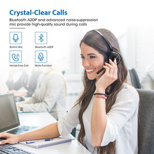 Image 2 - Mpow M5 Pro kablosuz kulaklıklar Bluetooth aşırı kulak Krystal Clear gürültü önleyici mikrofonlu kulaklık şarj standı PC Laptop için