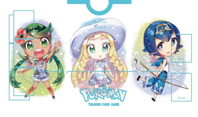 Takara Tomy PTCG Accessories Pokemon Card Game Table Playmat Mallow Lana Lillie Ultra Sun&Moon Toys For Children