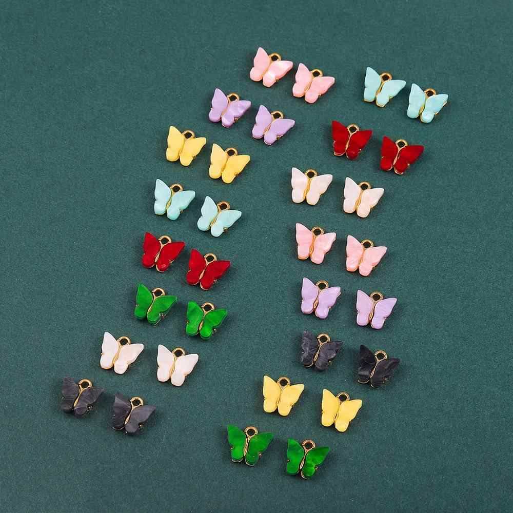 4-10Pcs Multicolor Acrylic Butterfly Pendant Charm Set for Jewelry Making DIY Earrings Necklaces Bracelets Handmade Accessories