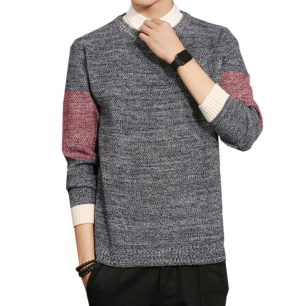 Autumn Winter New Sweater Men Fashion Warm Slim Fit Casual Large Size M-5XL Contrast Color Long-sleeved O-neck Knitting Pullover