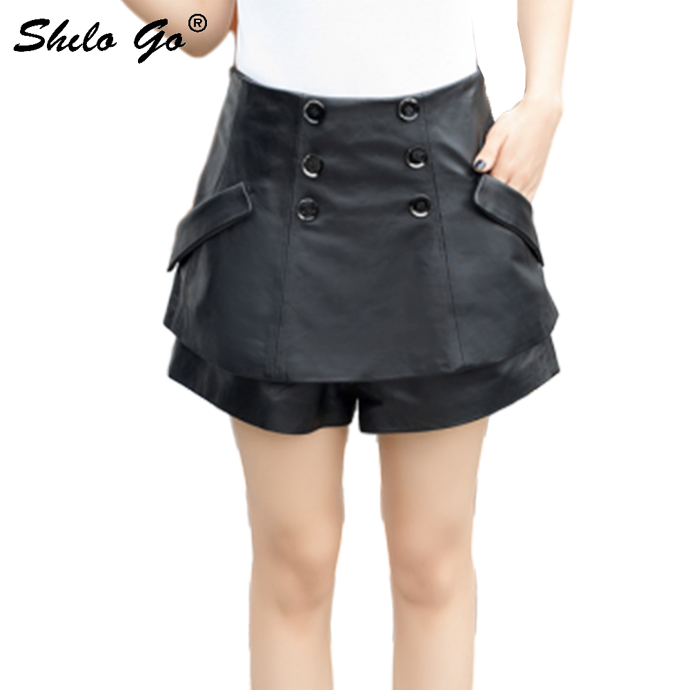 Genuine Leather Shorts Skirts Highstreet Double Breasted Pocket Side High Waist Sheepskin Skirt Women Casual A Line Shorts