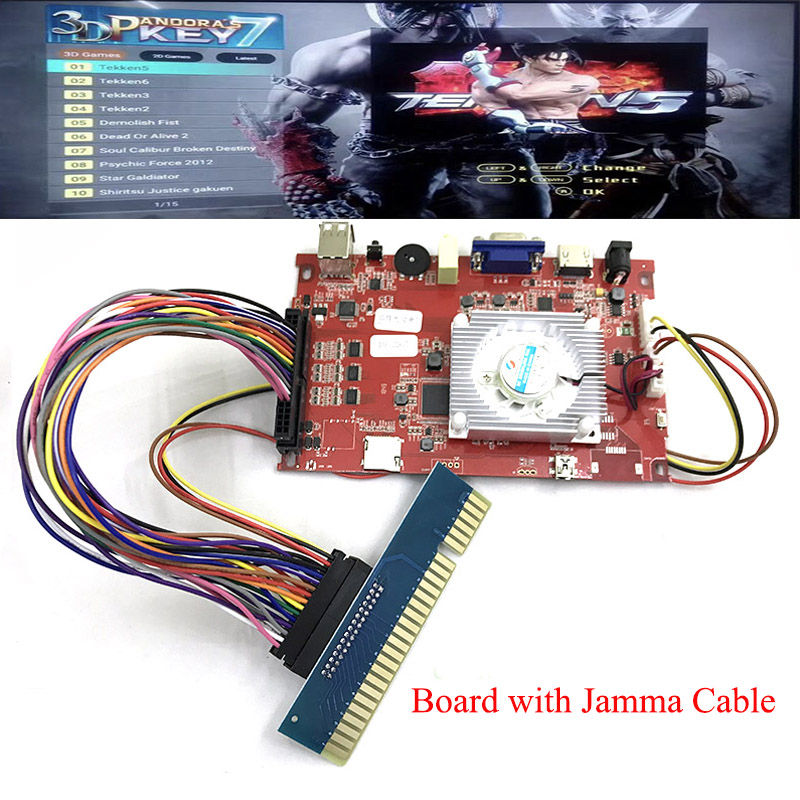 Replacement Console Board For PANDORAS KEY 7 3D Games Arcade Board 2177/2323 In 1 Motherboard VGA HDMI Output Family Jamma Cable