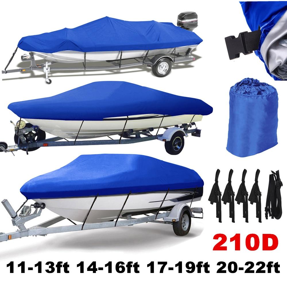 11-22ft Trailerable 210D Boat Covers Waterproof Grey Sunproof UV Protector Heavy Duty Speedboat Boat Cover Fishing Ski D45