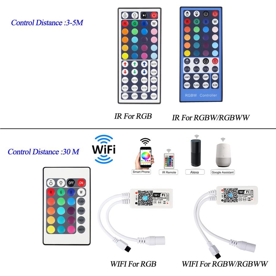 H0d832ca4df27431bafd170472f398429p 5050 LED Strip WIFI RGB RGBW RGBWW 5M 10M 15M RGB Led Color Changeable Flexible LED Strip Light + WIFI Remote Controller + Power