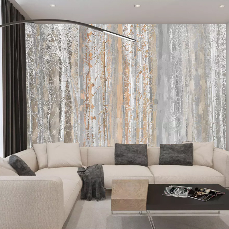 Simple Northern European-Style Mural Plain Color Oil Painting Style Texture Woods Style TV Background Wallpaper Oil Painting Cyp