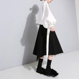 Image 2 - [Deat] 2020 novo outono inverno em torno do pescoço manga longa cor sólida preto voltar bandagem arco solto moletom moda feminina je14101