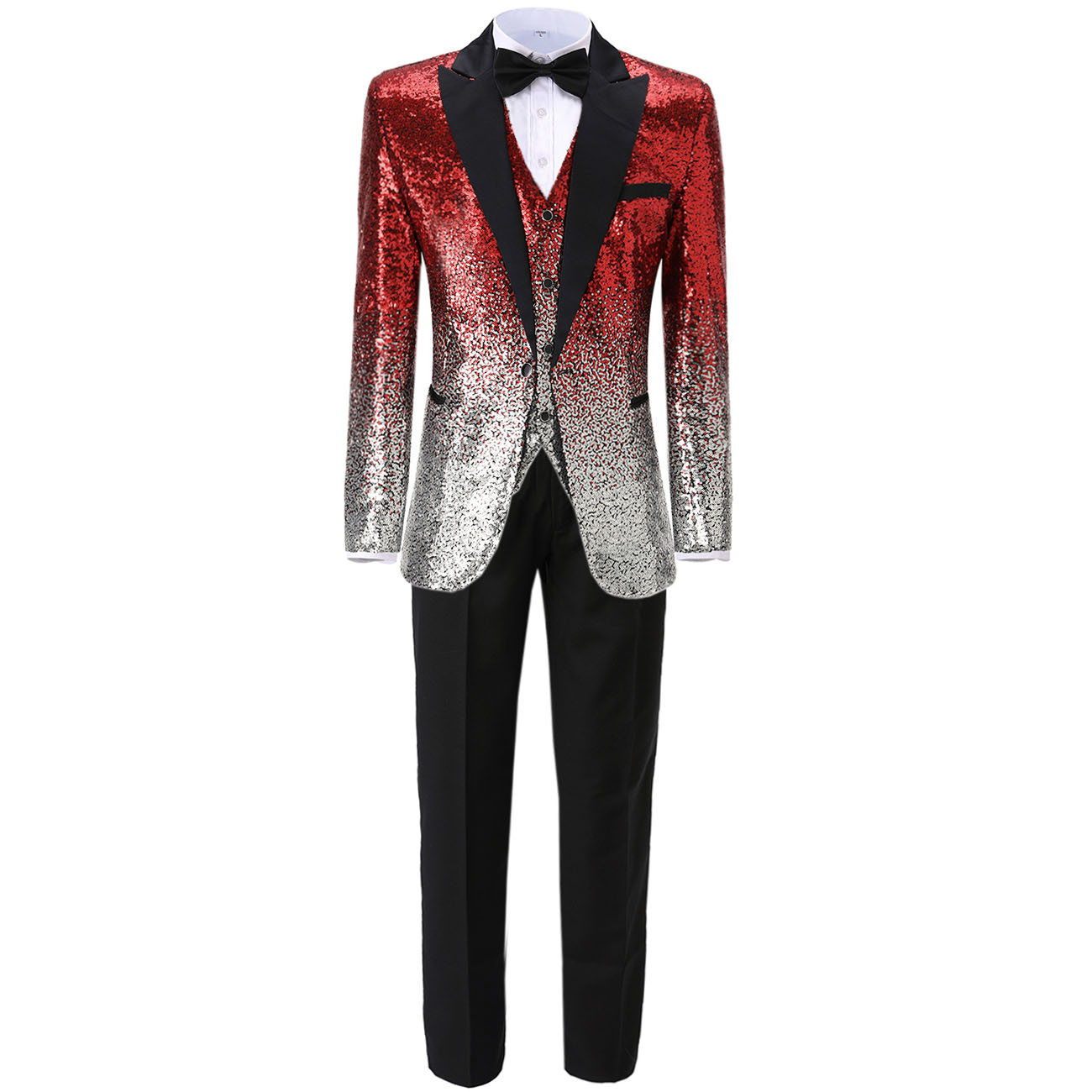 Men's Suit Tuxedos Pants Blazer Vest Groomsmen Slim-Fit Sequin Notch Business Party 3pieces
