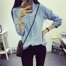 Fashion Striped Pocket Student Shirt Office Ladies Tops Long Sleeve Turn-down Collar Autumn Blouse Women Plus Size Casual Blusas cotton long shirt fashion plaid turn down collar full sleeve office lady autumn women blouse plus size casual blusas student top