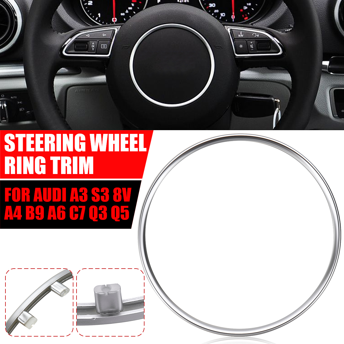 ABS Chrome Steering Wheel Decoration Sticker Trim Sequins Cover Cap Ring For <font><b>Audi</b></font> A3 <font><b>A4</b></font> B8 Q3 Q5 2012 <font><b>2013</b></font> 2014 2015 2016 2017 image