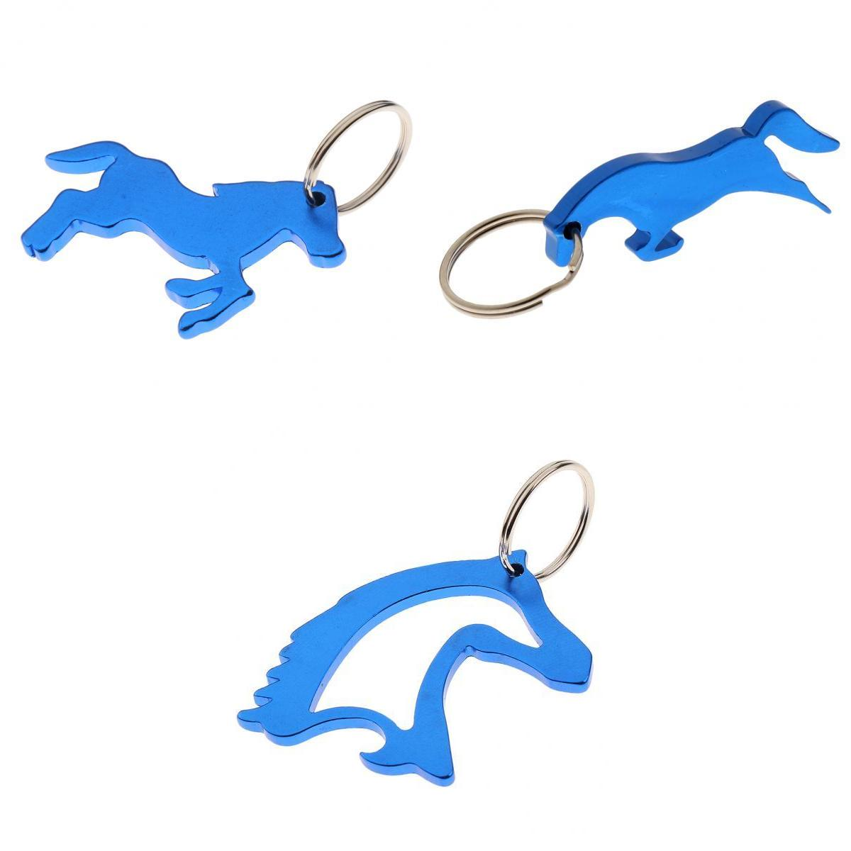 3 Style Novelty Gift Bottle Opener Key Ring Keychain Bag Pendent Blue