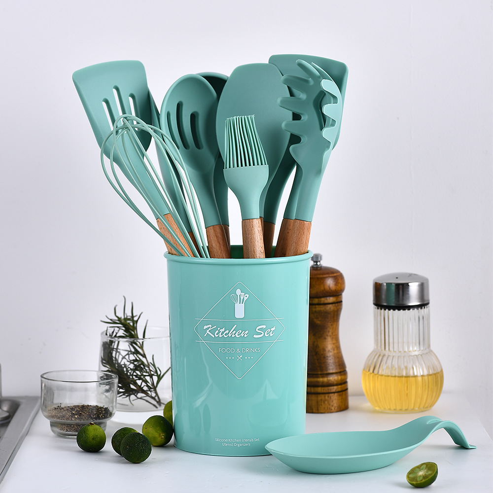 Image 2 - 9/10/12PCS Silicone Cooking Utensils Set Non stick Spatula Shovel Wooden Handle Cooking Tools Set With Storage Box Kitchen Tools-in Cooking Tool Sets from Home & Garden