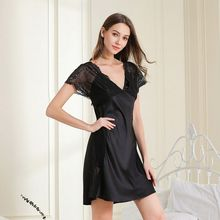 Sexy Nightdress Black Home-Service Short-Sleeved Lace Casual Openwork Female