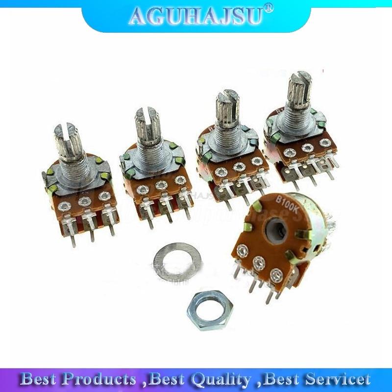 5pcs WH148 B1K B2K B5K B10K B20K B50K B100K B500K 6Pin 15MM Amplificador Dupla Stereo Potenciômetros Do Eixo 50 10 5 2 1K K K K K 100K 500K