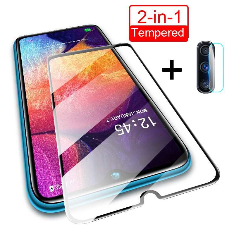 2in1 Glass For Samsung Galaxy A50 A10 A20 A20E A30 A40 A60 A70 Camera Lens Screen Protector Glass For Samsung A90 M10 M20 Glass