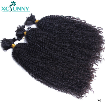 Afro Kinky Curly Bulk Human Hair For Braiding No Weft Remy Mongolian Bulk Braiding Hair Extensions 2/3/4Pcs A Lot Bundle Xcsunny