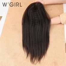 Wigirl cabelo 4x4 fechamento do laço brasileiro kinky reta meio parte 100% humano remy cabelo descorado nós com o cabelo do bebê