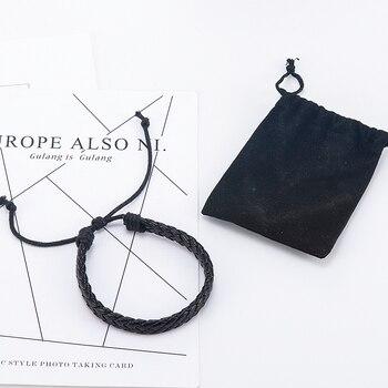 Fashion Men Black Weave Leather Simple Adjustable Bracelet Bangle Cuff Rope Bracelet Jewelry Gift For Boyfriend 4