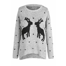 2019 autumn and winter women's sweater Christmas reindeer loose round neck pullover long sleeve embroidery sweater crew collar christmas sweater with reindeer graphic